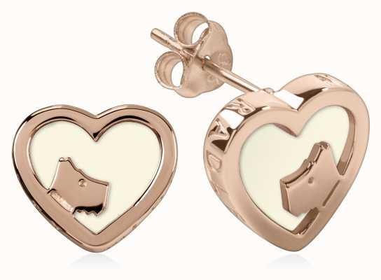 Radley Jewellery Rose Gold/Chalk Enamel Heart Stud Earrings RYJ1070