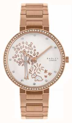 Radley | Womens Rose Gold Steel Bracelet | White Tree Motif Dial | RY4388