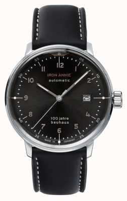 Junkers Iron Annie | Bauhaus | Black Leather Strap | Black Dial 5056-2