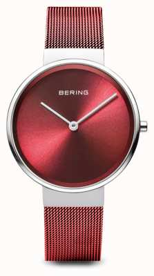 Bering Womens   Classic   Red PVD Plated Steel Mesh Bracelet 14531-303