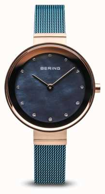 Bering Women's | Classic | Blue PVD Plated Steel Mesh 10128-368