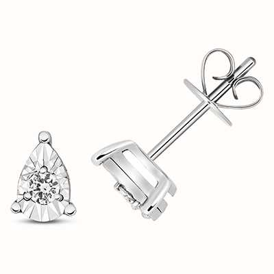 Treasure House 9k White Gold Diamond Illusion Pear Stud Earrings ED338W