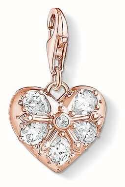 Thomas Sabo Charm Pendant 'Heart' 925 Sterling Silver; 18k Rose Gold Pla 1571-416-14