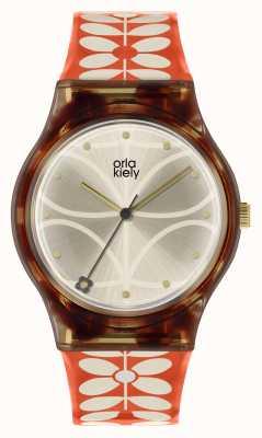 Orla Kiely | Womens Bobby Watch | Black Case | 60's Stem Print Strap | OK2316