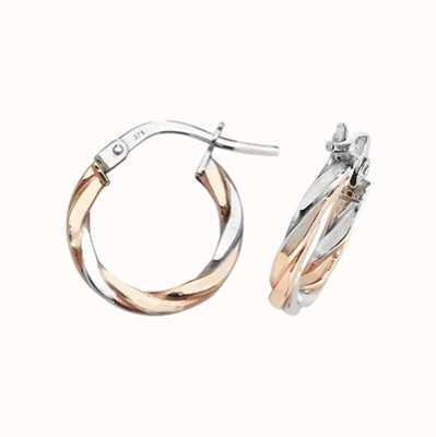 Treasure House 9ct Rose and White Gold Hoop Earrings ER1041RW-10
