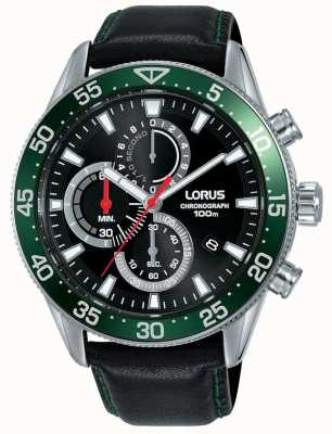 Lorus | Mens Chronograph | Green Bezel | Black Leather Strap | RM347FX9