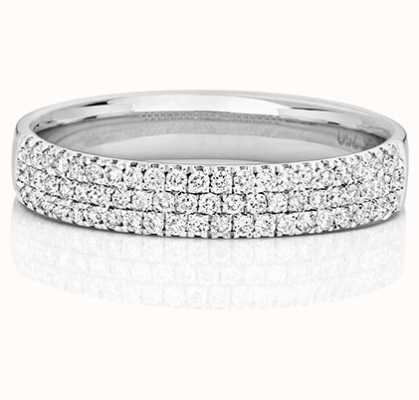 Treasure House 18k White Gold 3 Row Diamond Ring RDQ730W