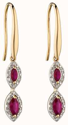 Elements Gold 9k Yellow Gold Ruby And Marquise Diamond Drop Earrings GE2283R