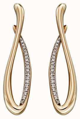 Elements Gold 9k Yellow Gold Infinity Diamond Earrings GE2296