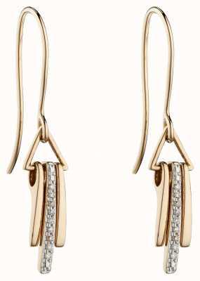 Elements Gold 9k Yellow Gold Geometric Diamond Stick Drop Earrings GE2300