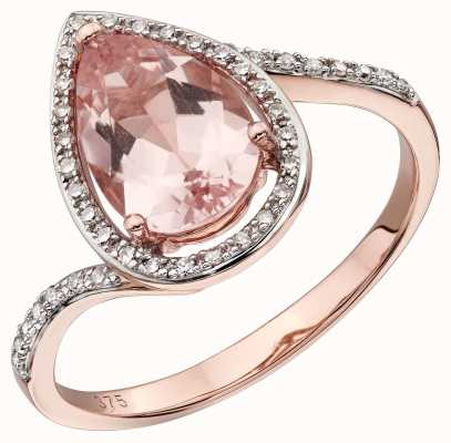 Elements Gold 9k Rose Gold Morganite And Diamond Teardrop Ring GR563P