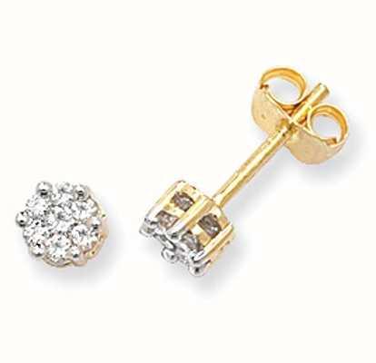 Treasure House 9k Yellow Gold Illusion Set Diamond Stud Earrings ED111