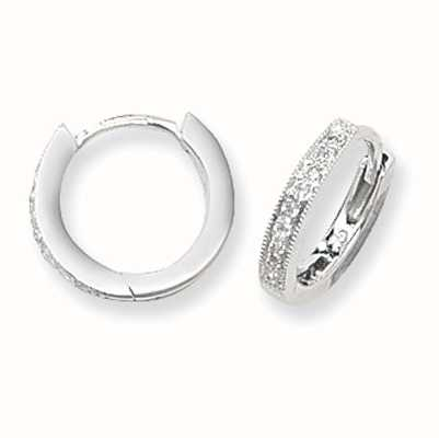 Treasure House 9ct White Gold 12mm Diamond Hoop Earrings ED116W