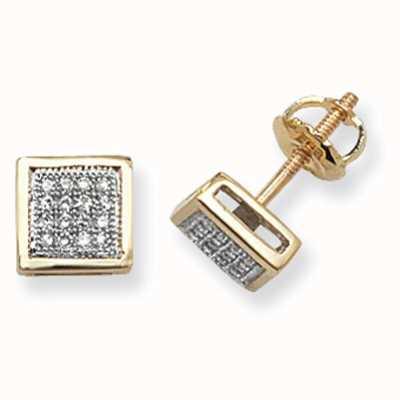 Treasure House 9k Yellow Gold Square Diamond Set Stud Earrings ED123