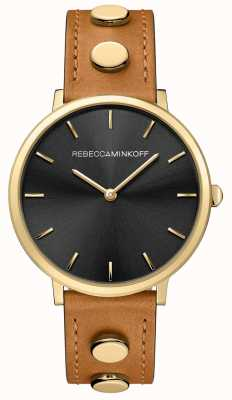 Rebecca Minkoff Womens Major | Brown Leather Strap | Black Dial | 2200027