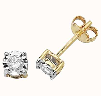 Treasure House 9k Yellow Gold Diamond Stud Earrings ED144