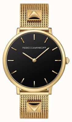 Rebecca Minkoff Womens Major | Gold Plated Mesh Bracelet | Black Dial | 2200002