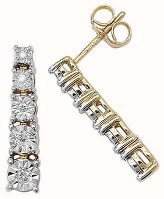 Treasure House 9k Yellow Gold Illusion Set Diamond Bar Earrings ED160
