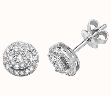 James Moore TH 9k White Gold Illusion Cluster Diamond Stud Earrings ED311W