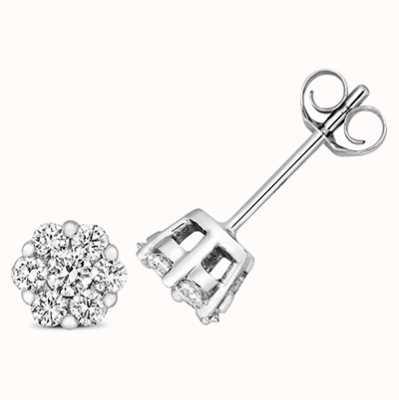 Treasure House 9k White Gold Diamond Cluster Stud Earrings ED320W