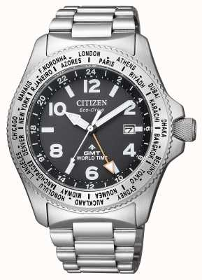 Citizen Mens Eco-Drive Promaster GMT Black Dial Stainless-steel Watch BJ7100-82E