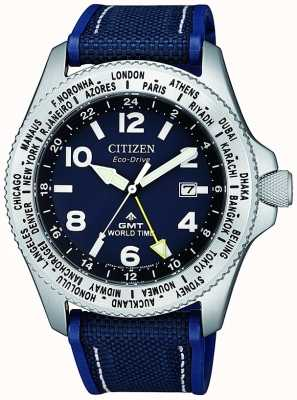 Citizen Mens Eco-Drive Promaster GMT Blue Dial Blue Canvas Strap Watch BJ7100-15L