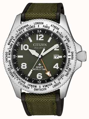 Citizen | Mens | Eco-Drive Promaster GMT | Green Canvas | BJ7100-23X