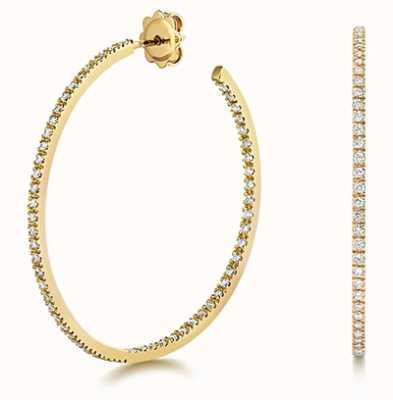 James Moore TH 18k Yellow Gold Diamond Hoop Earrings EDQ314