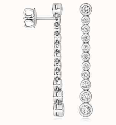 James Moore TH 18k White Gold Diamond Drop Earrings EDQ322W