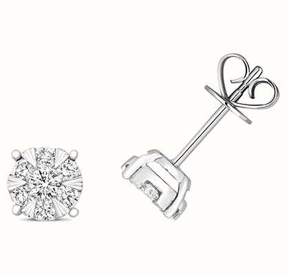 Treasure House 18k White Gold Diamond Stud Earrings EDQ324W