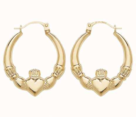 Treasure House 9k Yellow Gold Claddagh Creole Earrings ER070