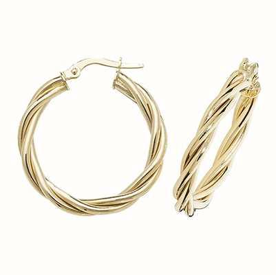 Treasure House 9k Yellow Gold Hoop Twist Earrings 20 mm ER1006-20