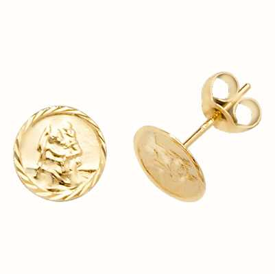 James Moore TH 9k Yellow Gold St Christopher Stud Earrings ES574