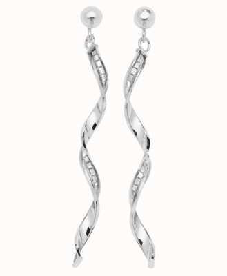 Treasure House 9k White Gold Drop Earrings ES566W