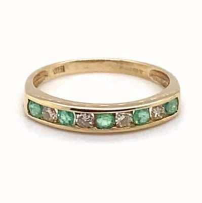 Perfection Diamond 9k Yellow Gold Emerald Diamond 9 Eternity Ring J53088