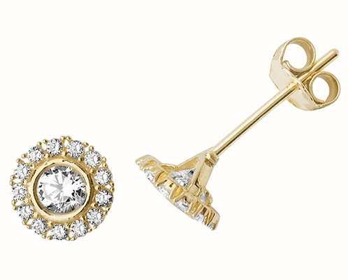 James Moore TH 9k Yellow Gold Cubic Zirconia Stud Earrings ES516