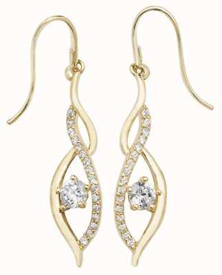 James Moore TH 9k Yellow Gold Cubic Zirconia Drop Earrings ES537
