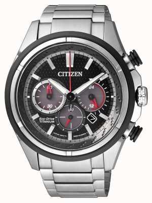 Citizen | Mens Eco-Drive | Titanium Bracelet | Black Dial | CA4241-55E