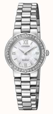 Citizen | Womens Eco-Drive | Crystal Set Case | Silver Bracelet | EW9820-89D