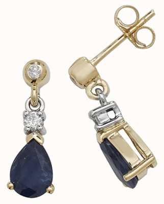 Treasure House 9k Yellow Gold Sapphire Diamond Drop Earrings ED245S
