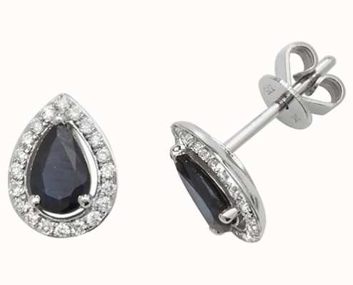 James Moore TH 9k White Gold Teardrop Diamond Sapphire Halo Stud Earrings ED248WS