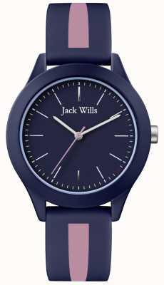 Jack Wills | Mens Union | Navy Dial | Pink/Navy Silicone Strap | JW009BLPST