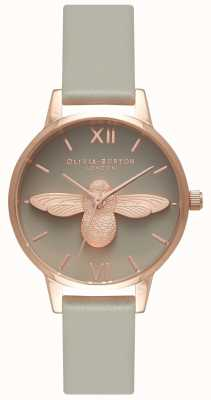 Olivia Burton | Womens | 3D Bee | Grey Strap | Grey Dial | OB15AM77