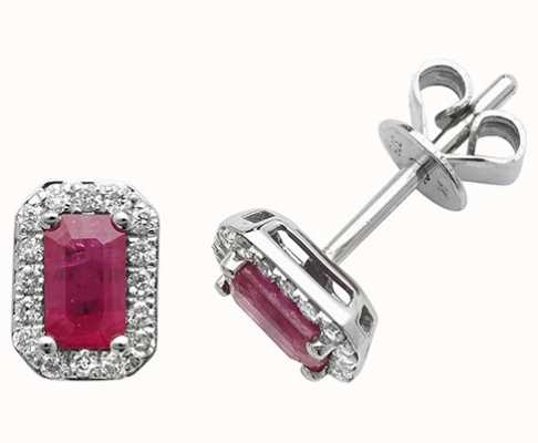 James Moore TH 9k White Gold Octagon Ruby Diamond Stud Earrings ED251WR
