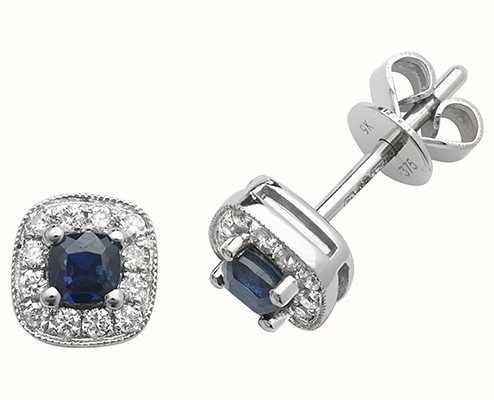 James Moore TH 9k White Gold Diamond Sapphire Cushion Stud Earrings ED252WS