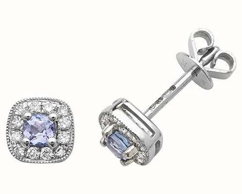 Treasure House 9k White Gold Diamond Tanzanite Cushion Stud Earrings ED252WT