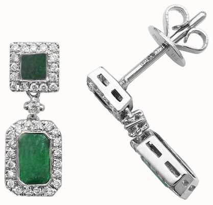 James Moore TH 9k White Gold Diamond Emerald Drop Earrings ED253WE