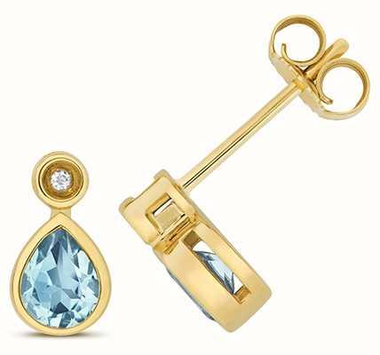 Treasure House 9k Yellow Gold Diamond Blue Topaz Stud Earrings ED259BT
