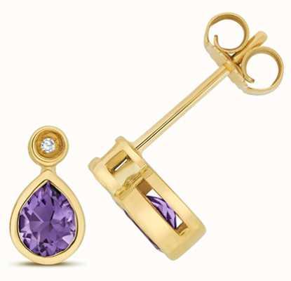 Treasure House 9k Yellow Gold Diamond Amethyst Stud Earrings ED259A