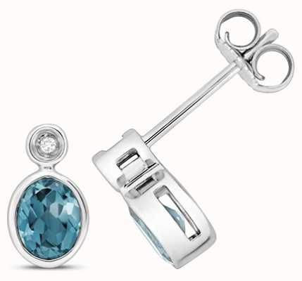 Treasure House 9k White Gold Diamond Blue Topaz Stud Earrings ED260WLB